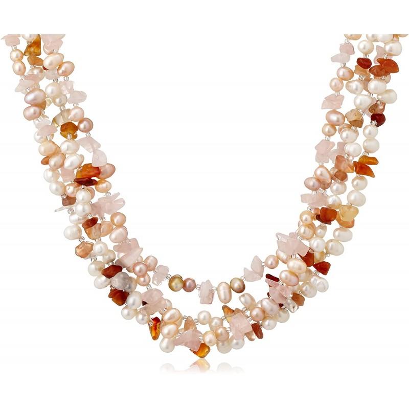 [퓨어 펄] Pure Pearl 담수 진주 & 로즈 쿼츠 & 옥수 2 개 세트 목걸이 오렌지 PP0062-10N-OR