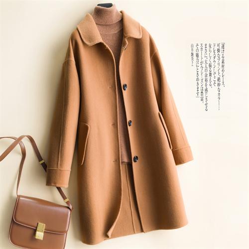캐시미어 핸드메이드 코트 가을과 겨울을위한 따뜻한 얇은 모직 코트 수제 양면 여성 중간