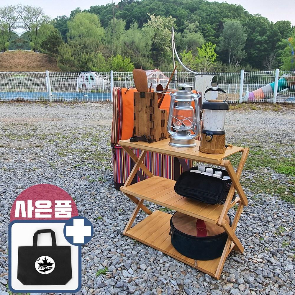 [WOOD PERFUME] 우드 쉘프 캠핑 선반 접이식 키친 테이블 폴딩 와이드 행어 3단 4단, 1개, C형:촘촘이3단[선반]