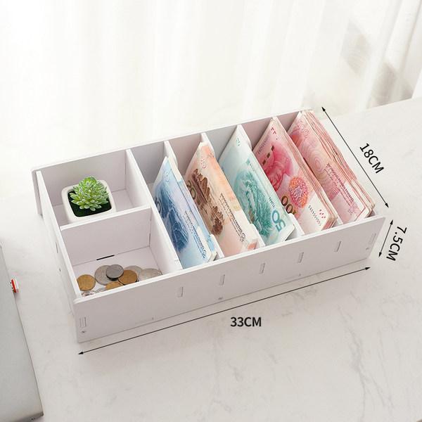 캐쉬어 현금 동전 저장 상자 종이 돈 출납원 서랍 돈, 대형 7 그리드
