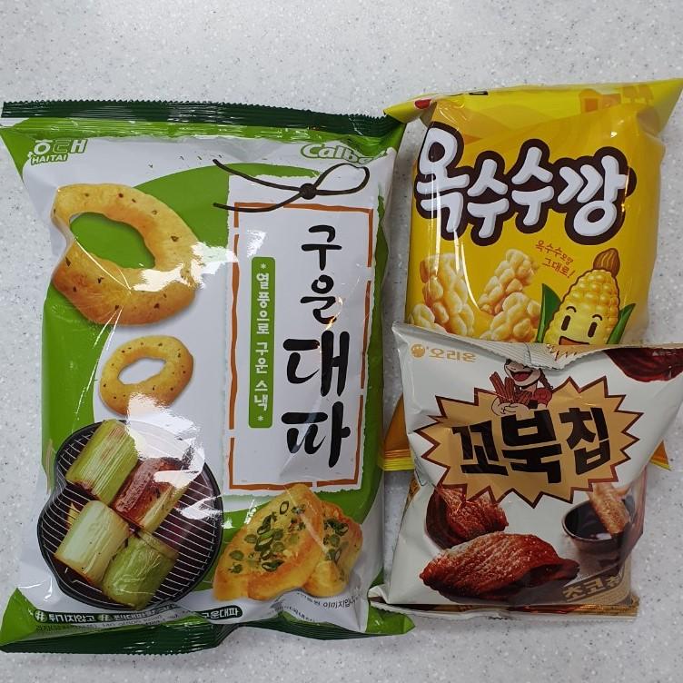 담팔담사 농심옥수수깡 70g 1봉지 + 꼬북칩초코츄러스맛 80g 1봉지 + 해태구운대파 70g 1봉지(총3봉지)