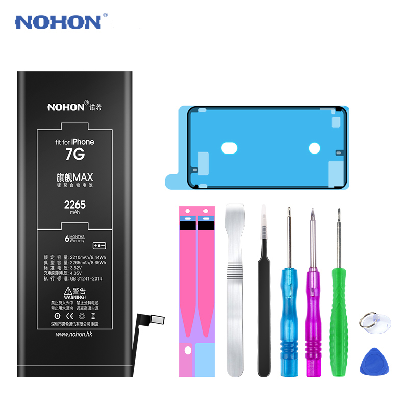 NOHON 노혼 Battery 대 한 iPhone 6S 6 7 8 Plus XS Max iPhone6S 플러스 iPhone7 리튬 폴리머 교체 배터리 Free 툴, For iPhone7 2265mAh