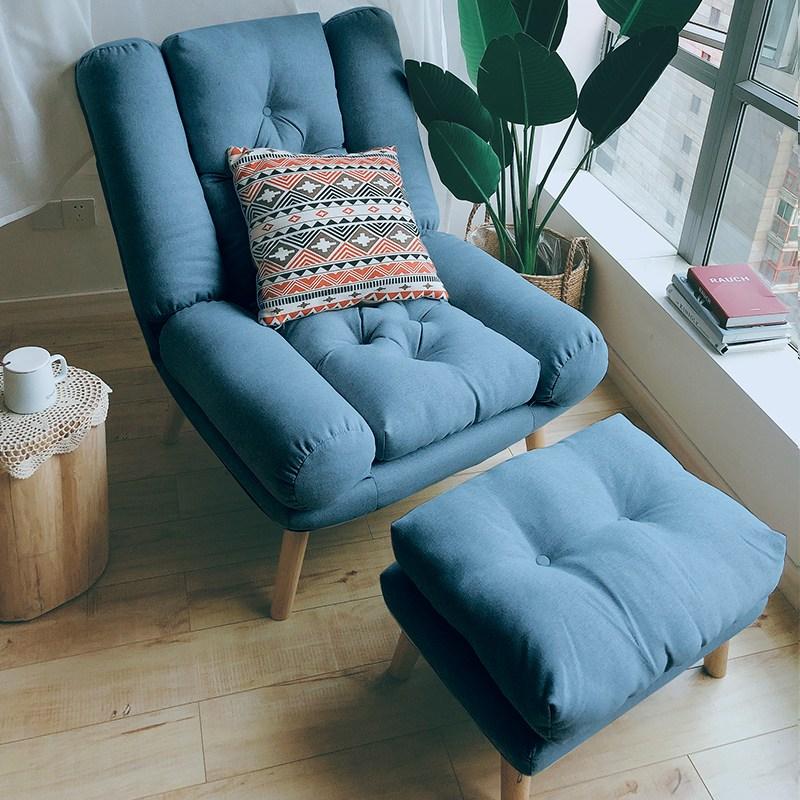로로스키니 1인용 리클라이너 의자 좁은 거실 침실 호텔 소파 패브릭 쇼파 북유럽 럭셔리 체어 모유 수유 임산부 릴렉스 안락 회전의자, 블루
