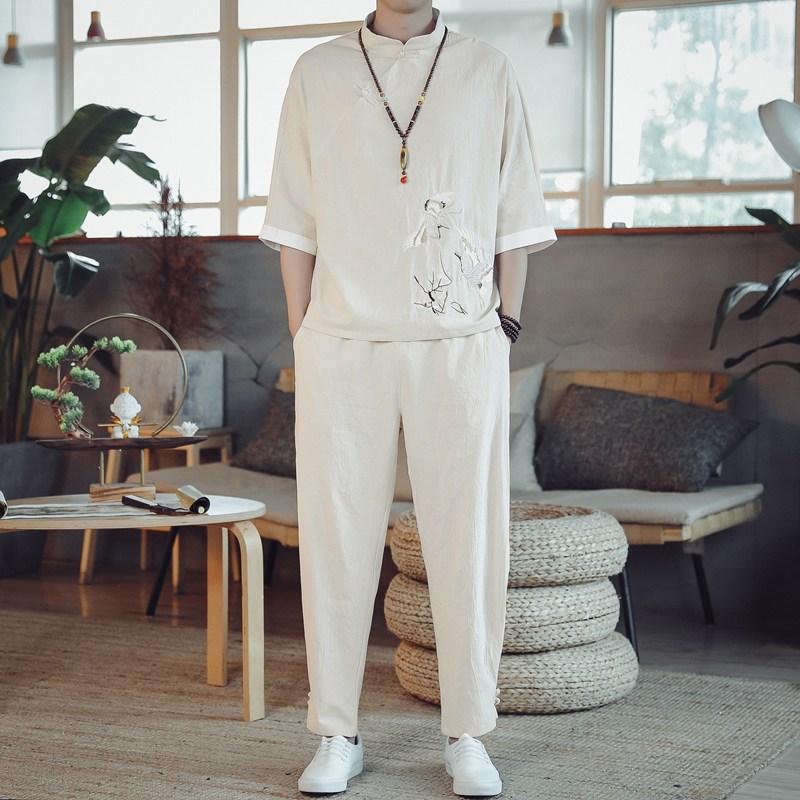 퓨전 남성 면 린넨 마 바지 상하의세트 생활한복 소재 남자 개량 여름 삼베