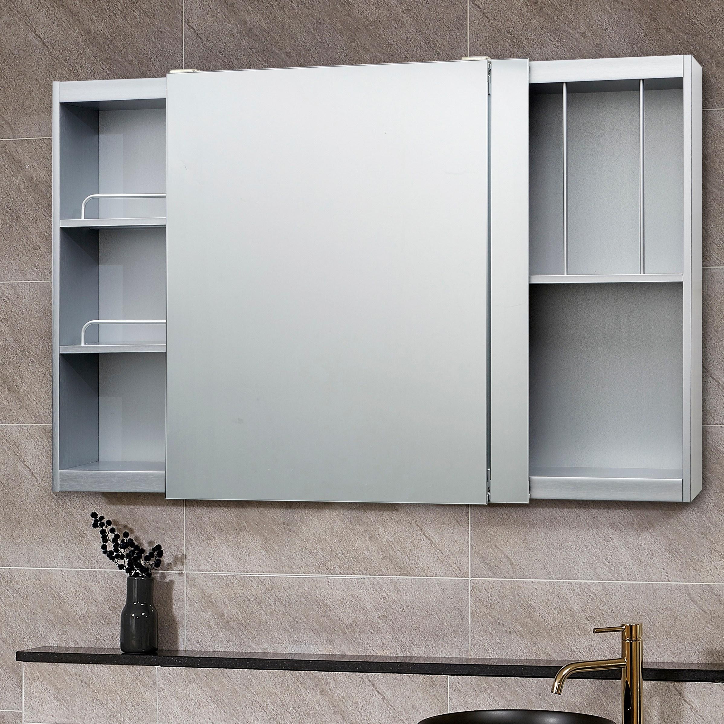 모카 욕실 슬라이드 수납장(1200), 실버