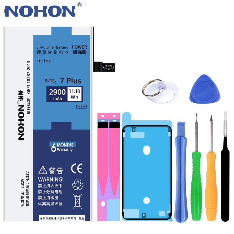 NOHON 노혼 Battery 대 한 iPhone 6S 6 7 8 Plus XS Max iPhone6S 플러스 iPhone7 리튬 폴리머 교체 배터리 Free 툴, For iPhone7 Plus 2900mAh