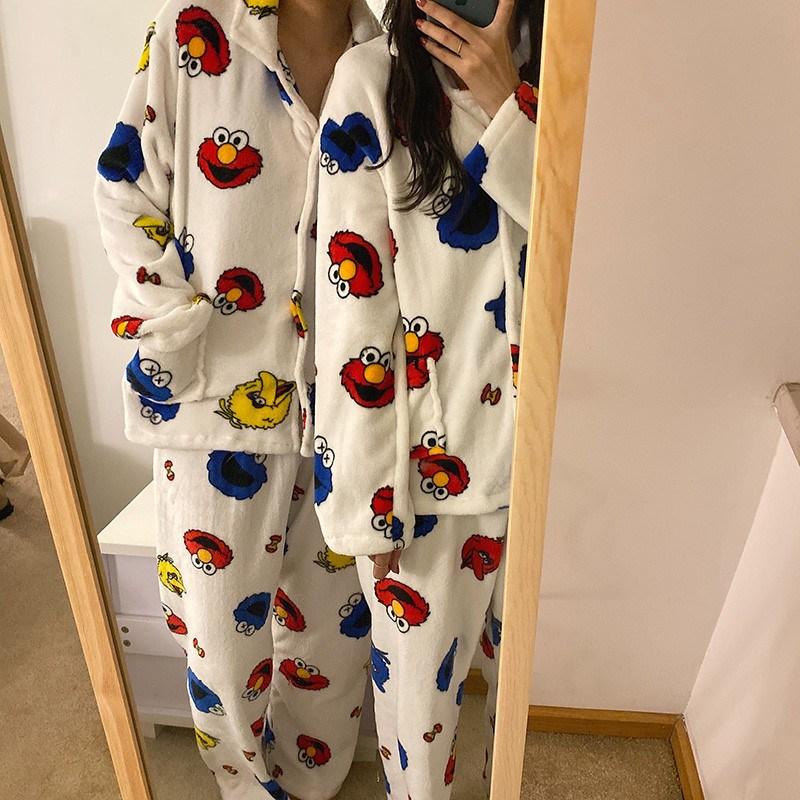 봄날의꽃 겨울 극세사 엘모 커플잠옷 수면잠옷