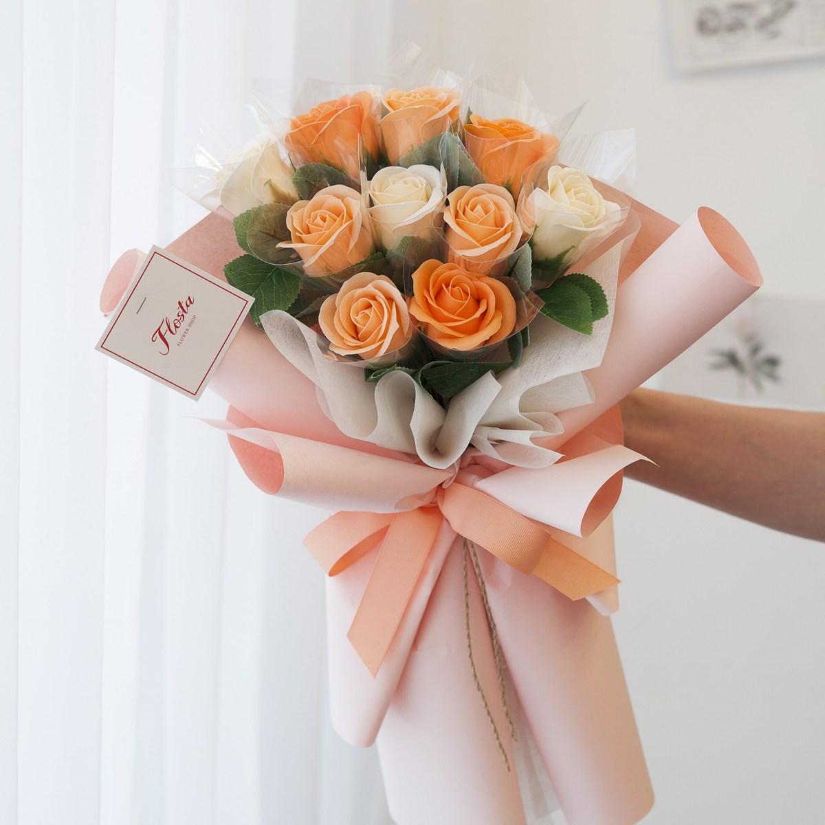 플로스타 당일 꽃배송 돈꽃다발 부모님 생신 어버이날 결혼 기념일, 10송이 오렌지샤베트
