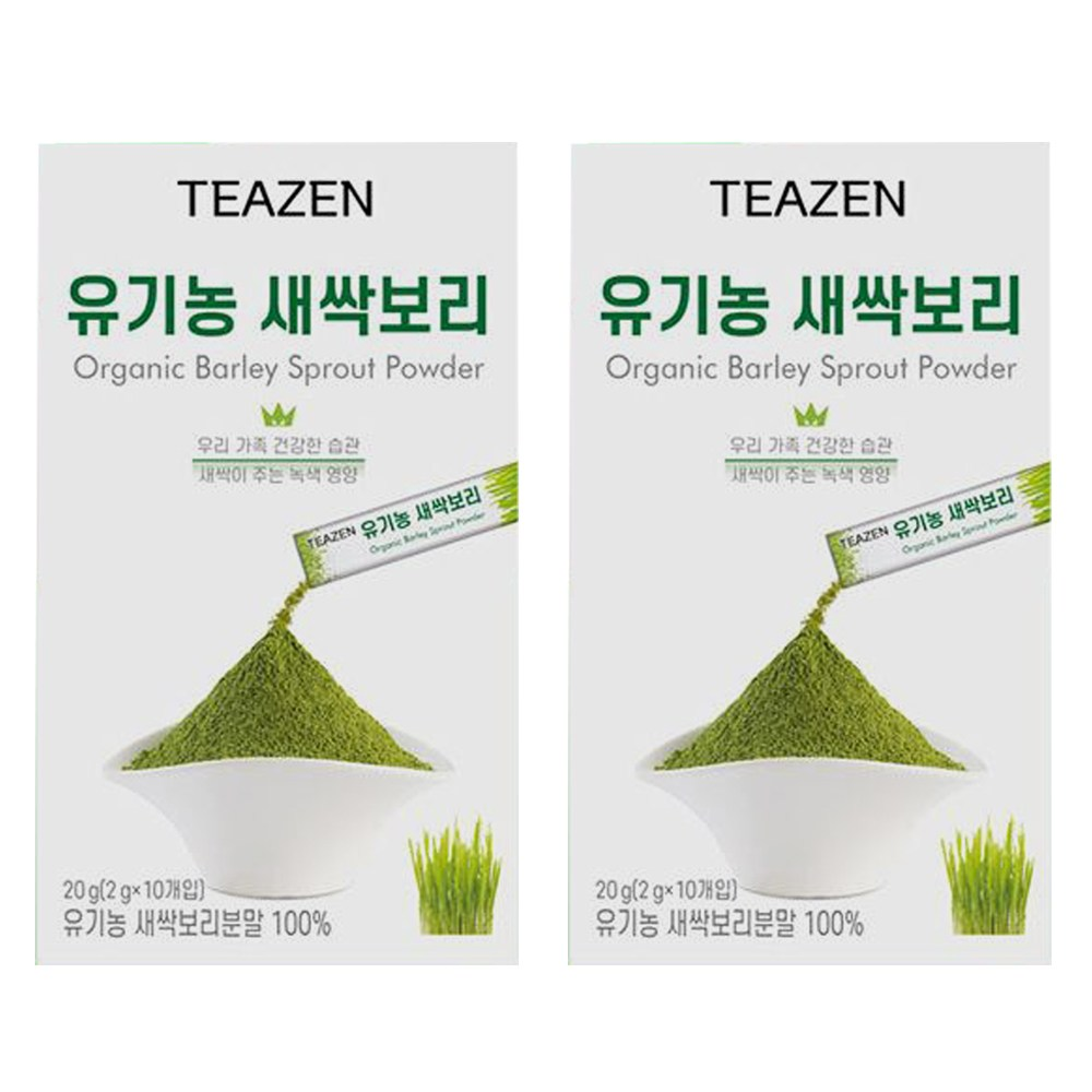 티젠 유기농 새싹 보리 10입 x2개/분말 영양만점, 단일상품, 단일상품