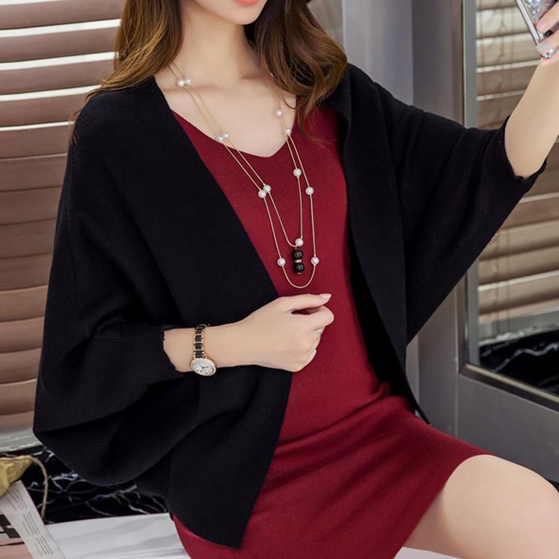 니트가디건 셀럽 숄 여자외투 가을옷 .