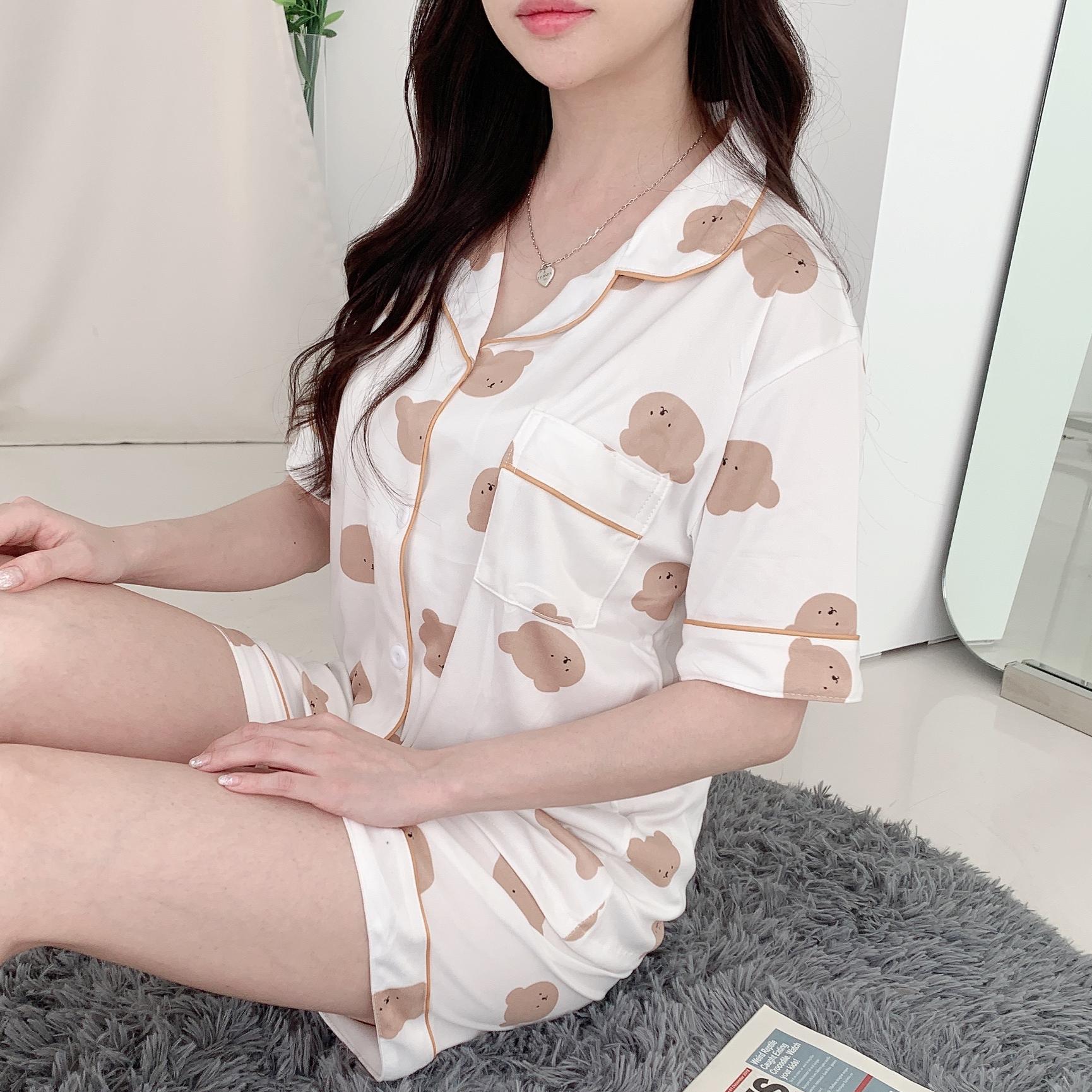 곰돌이 여름 반팔 투피스 여성잠옷 홈웨어 파자마 실내복