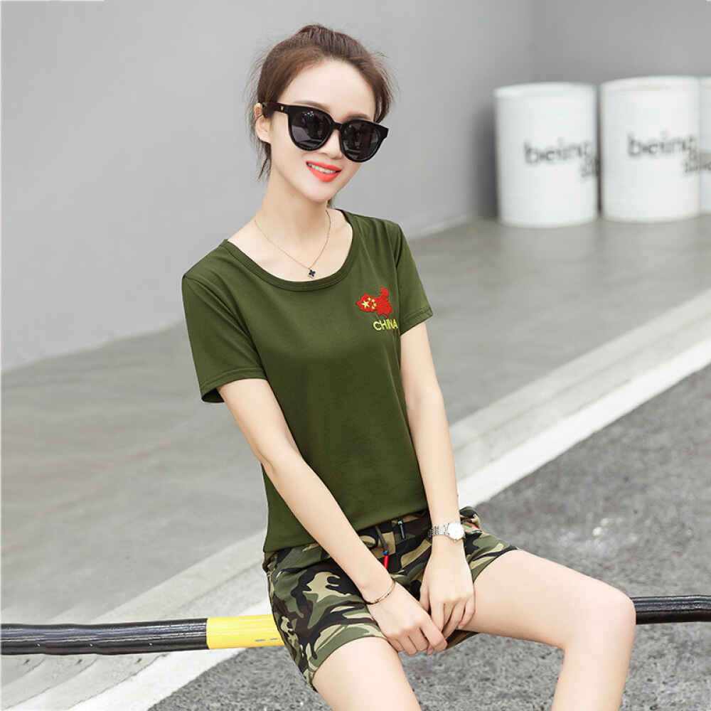 others 여름 여성복 위장복 세트 캐 주 얼 트 레이 닝 복 학생 군사훈련 수병 무 V 넥 티셔츠 M666 두 벌 군 녹색 S