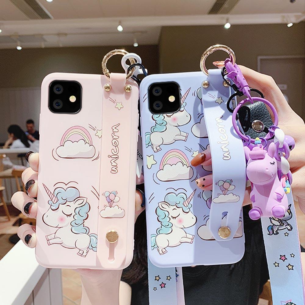 아이폰11 프로 맥스 XR XS MAX 8 7 플러스 유니콘 캐릭터 스트랩 젤리 휴대폰 케이스 목걸이줄 키링세트