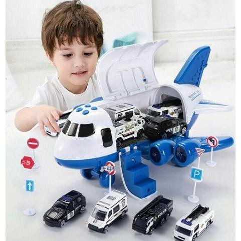 실내 공항 놀이 장난감 어린이 4세 5세 6세 남아 경찰자 소방차 중장비 자동차 장난감, 12종, 경찰