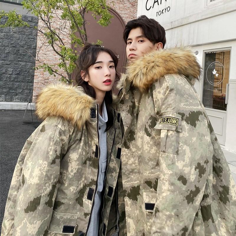 글로벌홈 커플해 겨울 따뜻한 야상스타일 패딩재킷 연인커플 어울리는 한 스타일 연출