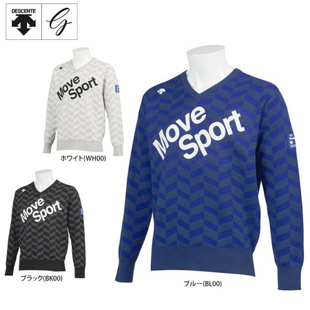 데상트 골프 맨즈 프린트 디자인 헤리본무늬 쟈카드 긴 소매 V넥 스웨터 DGMQJL12 골프 웨어 [2020년 추동-3-2260128821