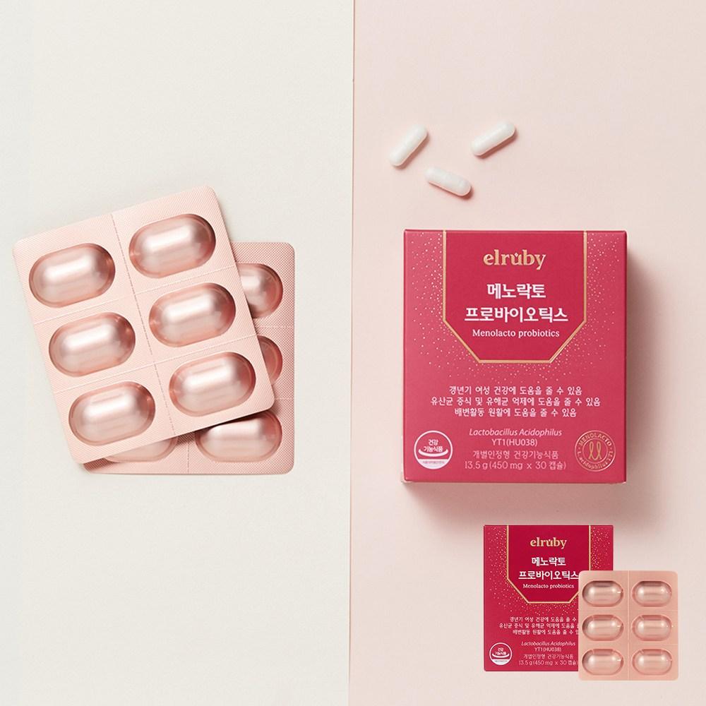엘루비 메노락토 갱년기 여성 유산균 yt1 분말, 1box, 450mgX30캡슐