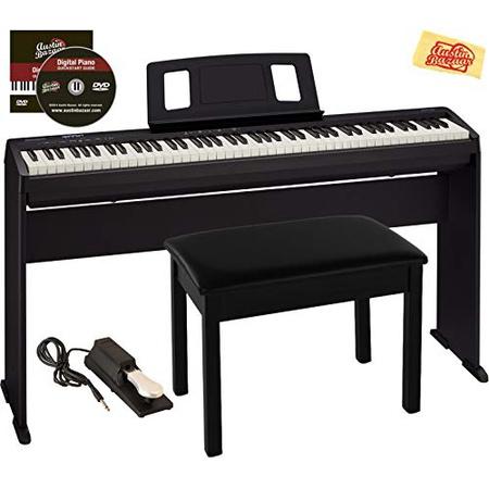 Roland FP-10 디지털 피아노 번들 (가구 스탠드 벤치 서스테인 페달 오스틴 바자 교육용 DVD 및 연 마, 번들 (스탠드 포함)