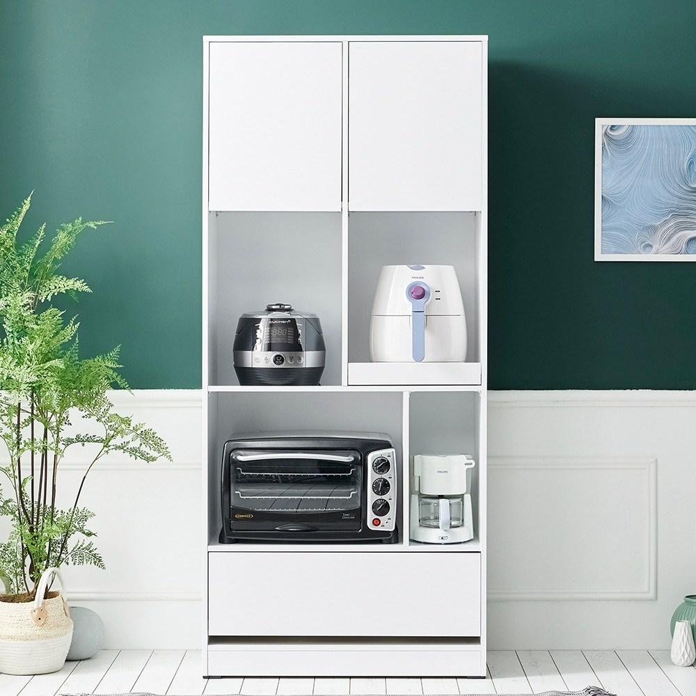 하이앤드리 두아 800 주방수납장 상부장 하부장 상부장세트 높은 키큰 주방그릇장 부엌장 전자렌지수납장 밥솥렌지대, 화이트