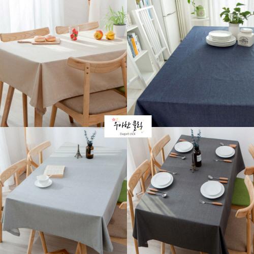 우아한클릭 고급 방수 린넨 식탁보 테이블보, 4인용(130x170cm), 오트밀