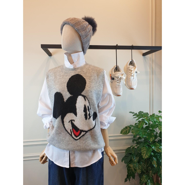반다리 [오늘발송] 고퀄 미키마우스 라운드 기본 스웨터 니트조끼