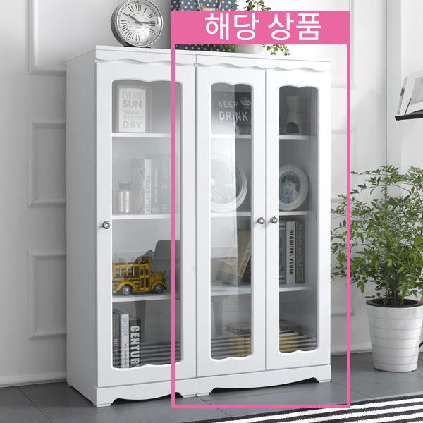 엣지퍼니처 코델 채움 유리 장식장, 화이트
