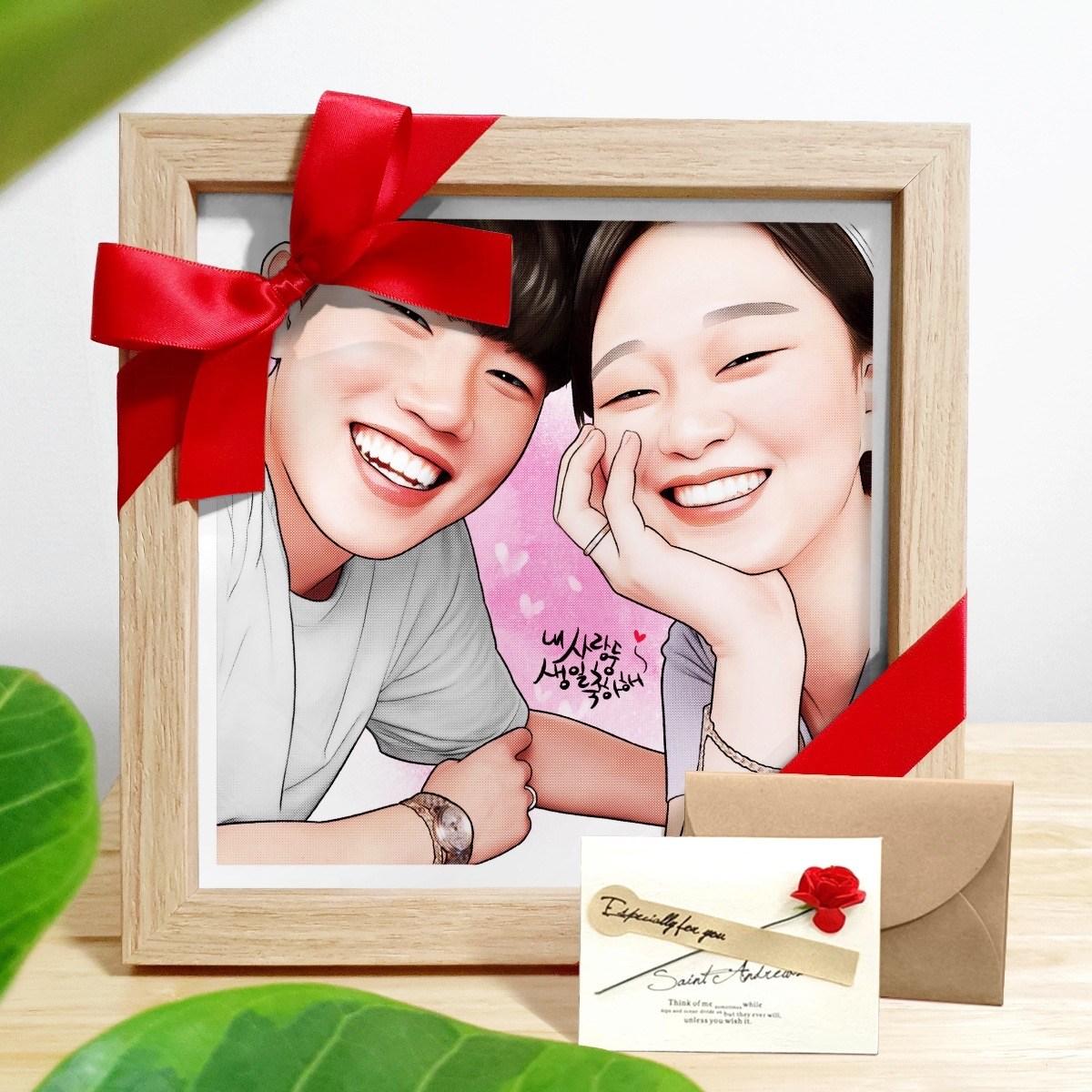 사진주문제작 감성 팝아트 초상화 캐리커쳐 커플 20대 여자친구 남자친구 부모님 생일 기념일 선물 액자+카드, 그림속인원 1명