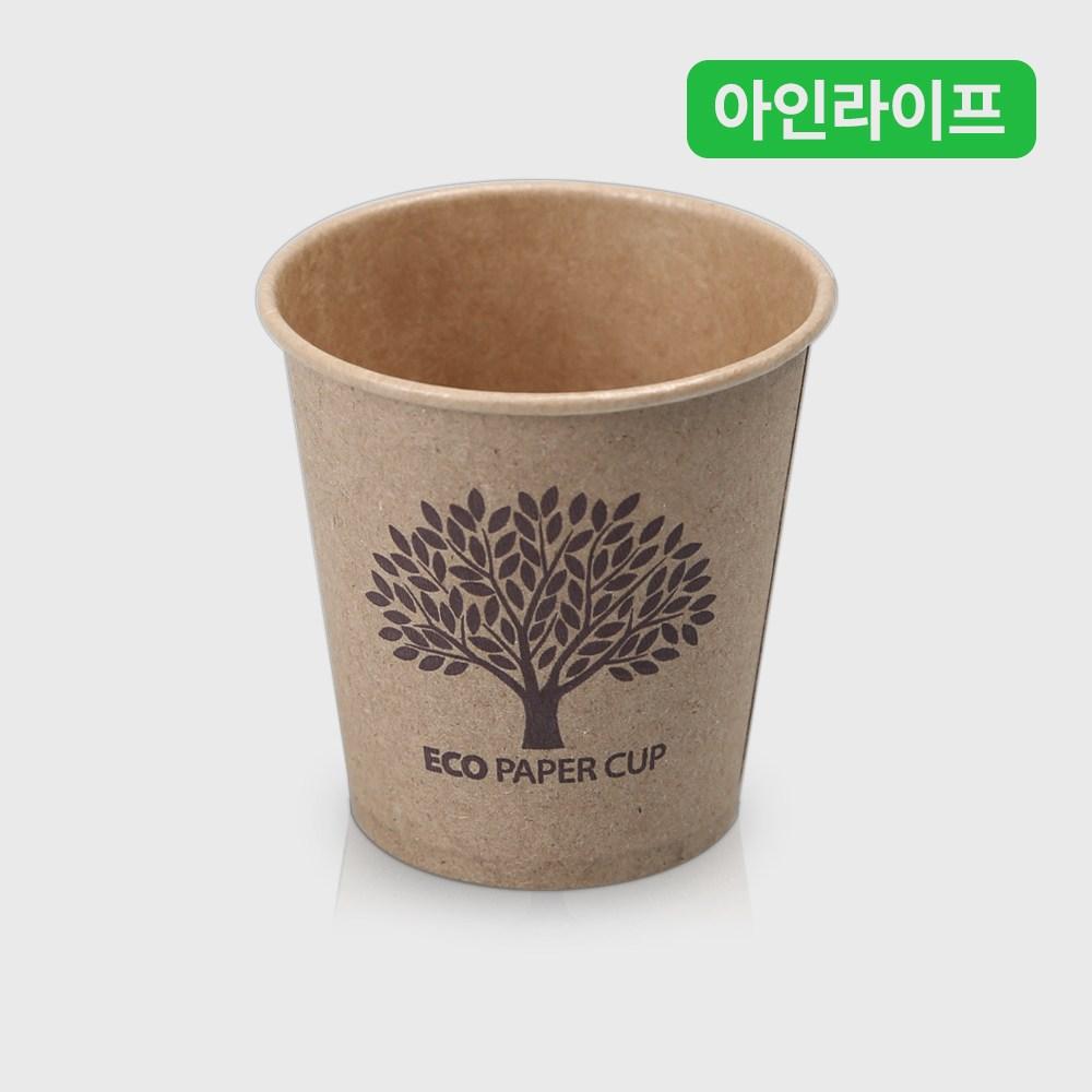 [아인라이프] 크라프트 친환경 일회용 종이컵 - 브라운색상 인쇄 1000개, 1개