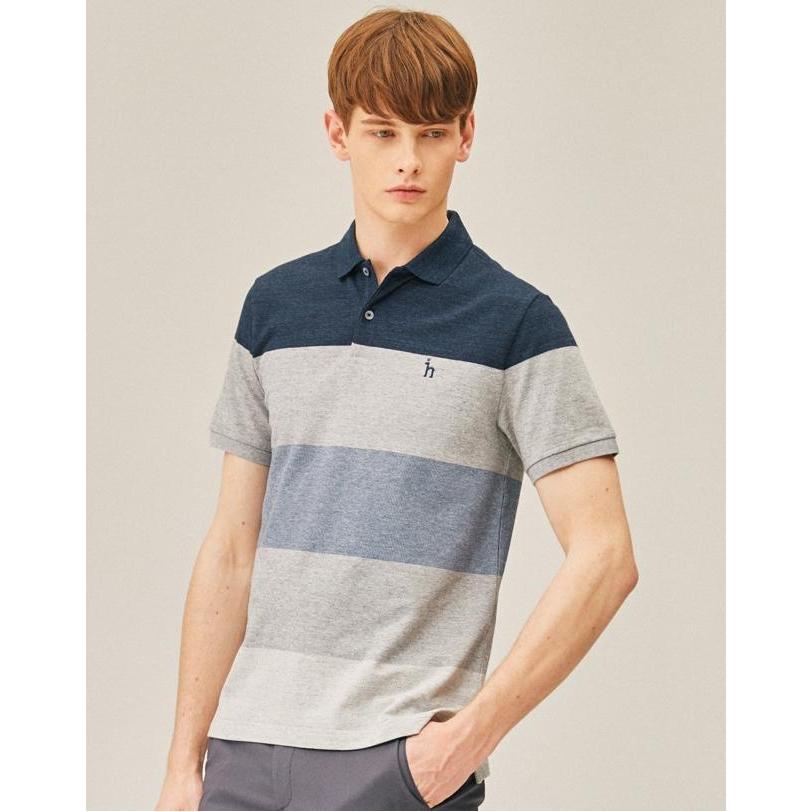 헤지스 남성 19SS 블루 컬러배색 면혼방 반팔폴로티셔츠 WHTS9B652B3