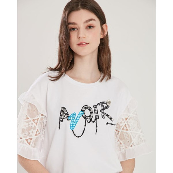 에고이스트 매쉬 자수 티셔츠