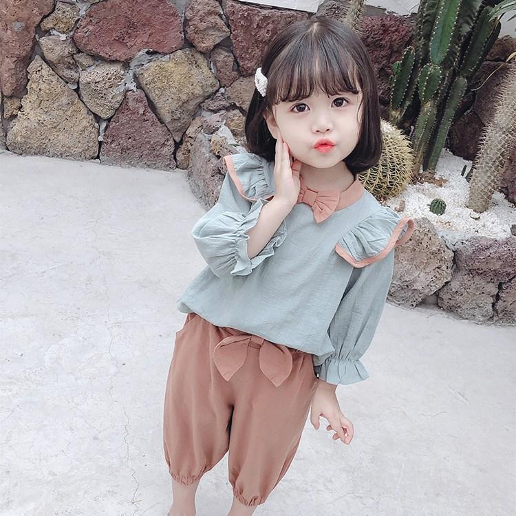 MOLY 유아동 면마 블라우스+바지 세트 J1544