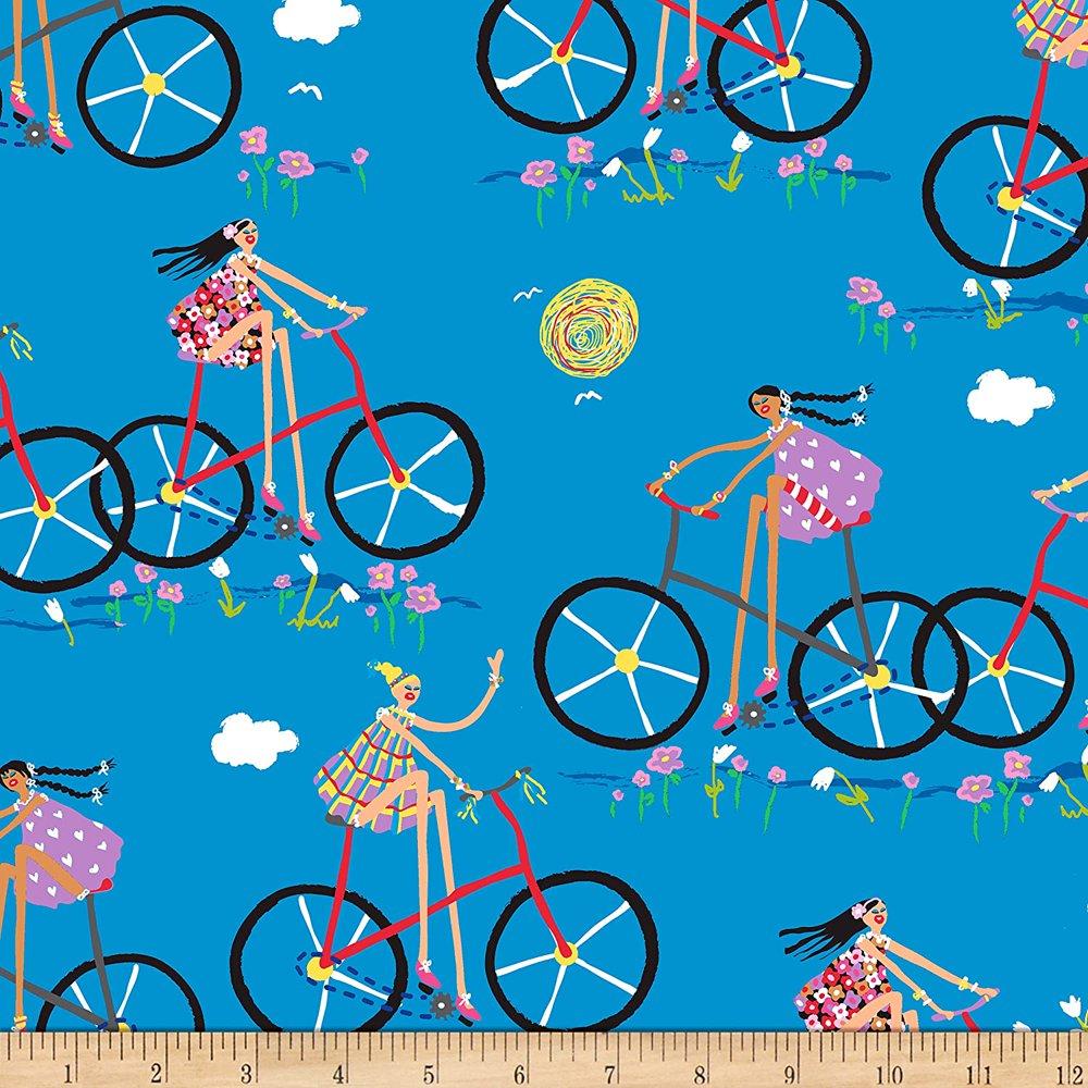 QT 도시 소녀 자전거 탄 소녀 마당에 있는 코튼