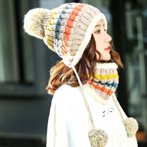 보슈 여성 겨울 방한 방울 털모자 여자 니트 기모 털 벙거지 모자 1-13