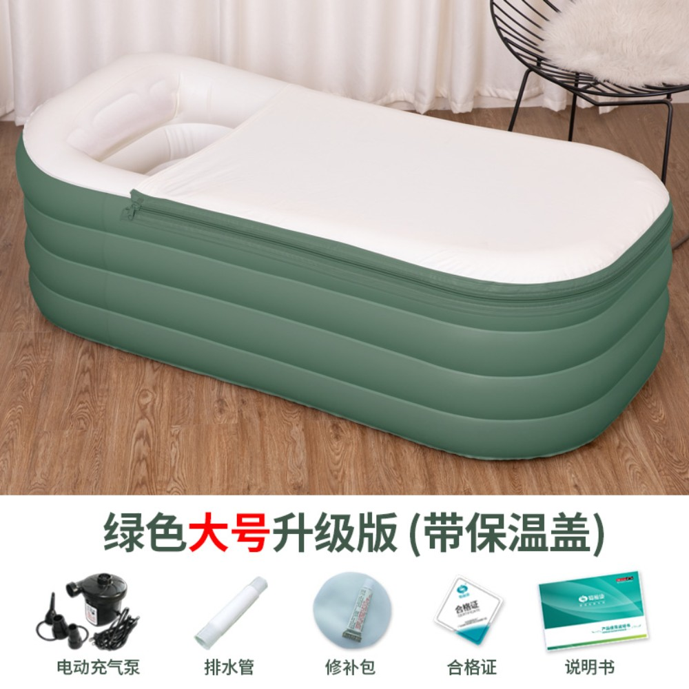 반신욕기 욕조 1인 1인용 접이식 원룸 미니 반신 반식욕통 휴대용 플라스틱 작은 아파트는 앉아서 거짓말을 할 수 있습니다, 녹색 대형 업그레이드 버전 (높이 185 이하) + 전동 펌프개