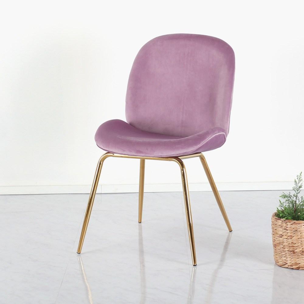 위드퍼니처 노엘골드체어 4colors 식탁의자, 핑크벨벳