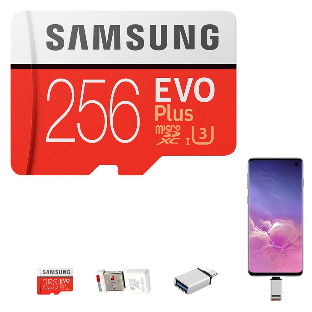 삼성전자 정품 마이크로SD EVO플러스 MB-MC128GB+USB리더기+C타입 OTG젠더, 256GB