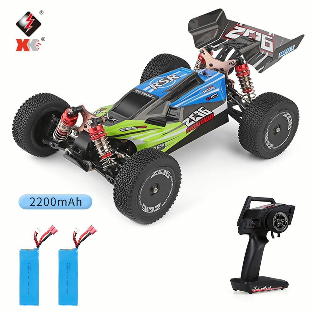 Wltoys XKS 144001 4 채널 RC 오프로드 레이싱 카 1|14, 초록 자동차 + 2200mAh 배터리2개