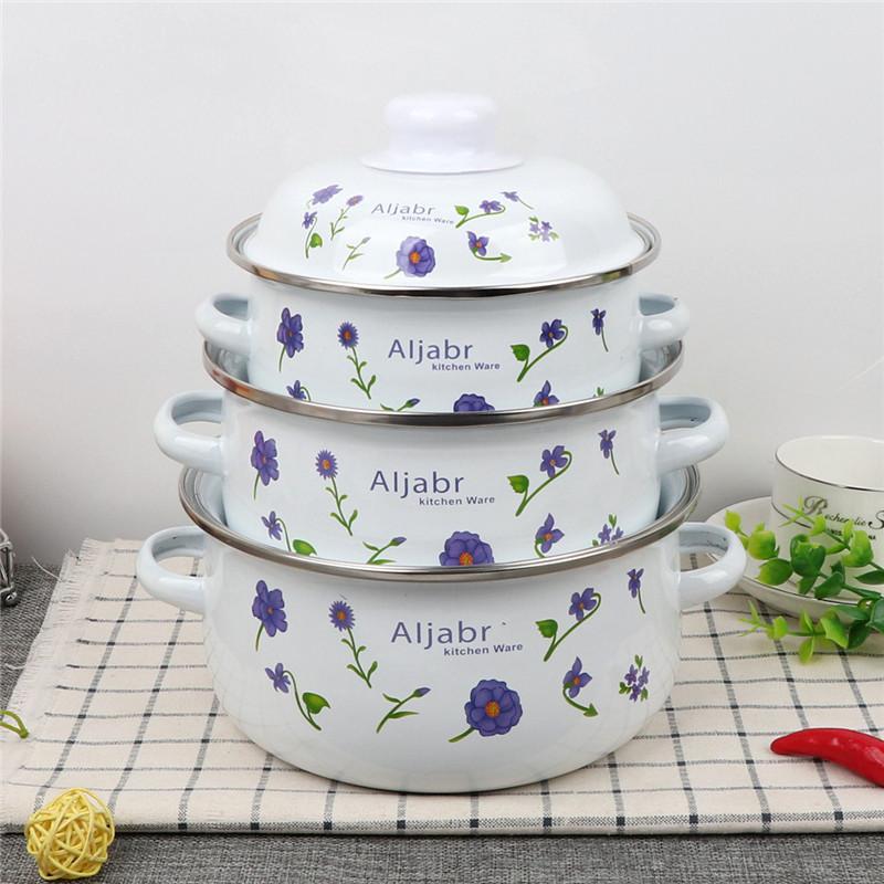 에나멜 옛날 스타일 법랑 보라색꽃 냄비, 기본, 기본