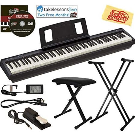 Roland FP-10 Digital Piano Bundle with Adjustable Stand Bench Sustain Pedal Online Lessons Instr, Bundle wAdjustable Stand, 상세 설명 참조0