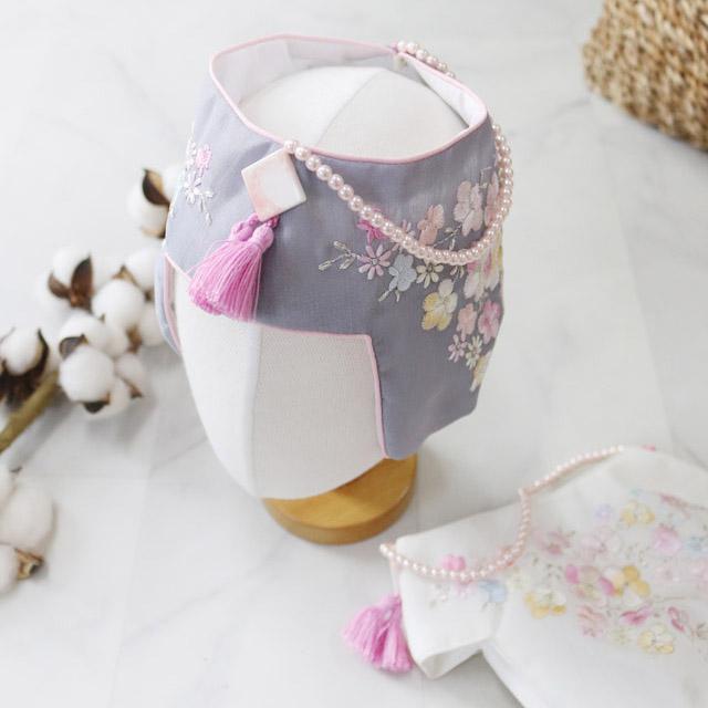 꼬마취향 여아조바위 2가지테슬잔꽃자수(백일~大)