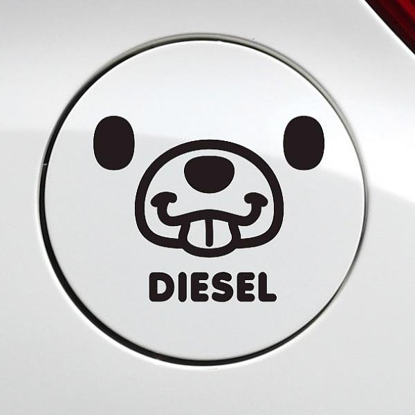카윙 메롱곰 디젤 자동차 주유구스티커-블랙 차량용 스티커
