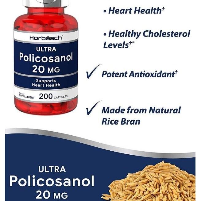 Horbaach 미국직배송 폴리코사놀 20mg 옥타코사놀 200캡슐 정품, 4병