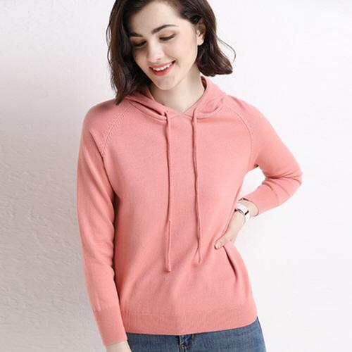 끌리시아 여성 가을 겨울 캐시 럭셔리 후두 니트티 긴팔 티셔츠 T14
