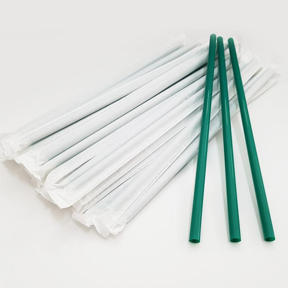 일자 초록색빨대 7mm 21cm 종이포장빨대 480개, 1팩