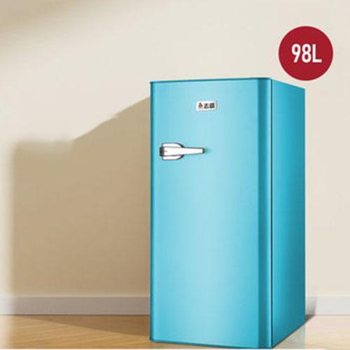 복고풍 소형 냉장고 가정용 에너지 절약 냉장고 기숙사 냉장고 50L/98L/118L/132L/156L, 불루, 98L (POP 5274244181)