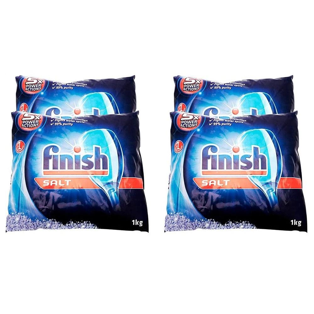 Finish Dishwasher Performance Salt Bag 2.2 Lbs (Pack of 4) 식기세척기 성능개선 소금백 1kg 4팩, 1set