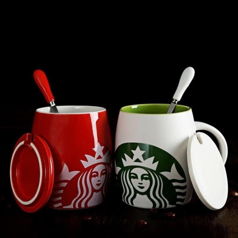 starbucks 스타벅스 컵 뚜껑있는 머그컵(숟가락 포함), 1개, 빨강