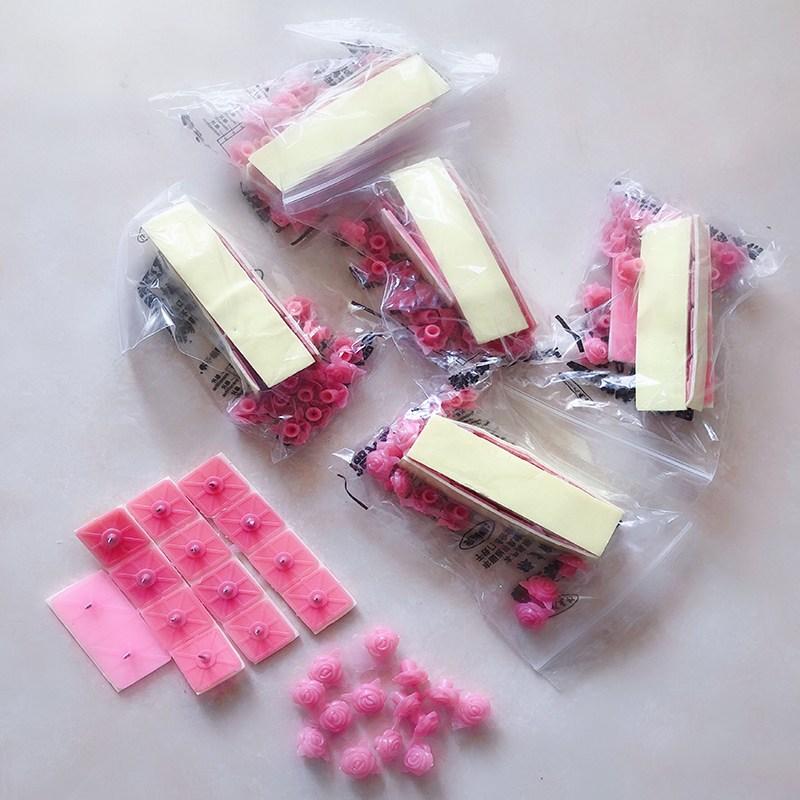 3D프린터소모품 자성 망사커튼 바란스 부속품 모기방지 접착식입구 알루미늄합금 스티커형 불필요못 접착고리 매직, T05-핑크(6포장)