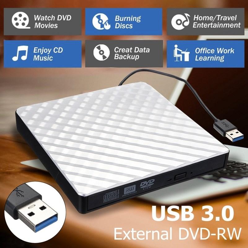 외부 USB 3.0 DVD RW CD 라이터 슬림 카본 그레인 드라이브 버너 리더 플레이어 PC 노트북 광학 드라이브, 중국, 하얀