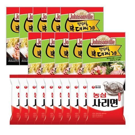 [궁극의맛] 쟌슨빌 부대찌개 500gX10팩 + 라면사리X10개, 없음, 상세설명 참조